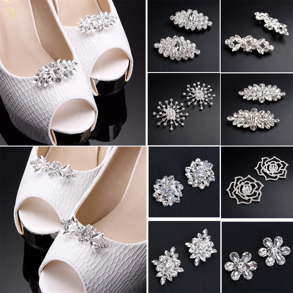 1Pair Shiny Rhinestone Crystal Tone Boots Shoe Clips Buckle Decoration Silver