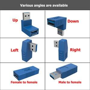 Image 2 - 90 degrés USB 3.0 A mâle à femelle Vertical gauche droite haut bas coudé adaptateur USB 3.0 M/F connecteur pour ordinateur portable ordinateur bleu