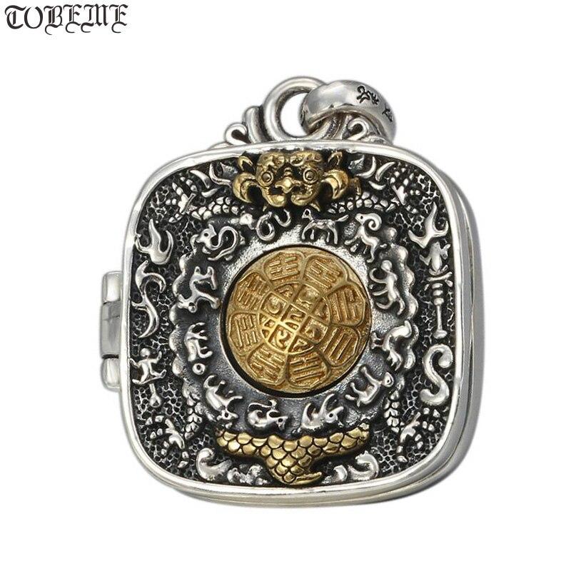 Véritable 925 argent bouddhiste sacré symboles de bon augure Gau boîte pendentif tibétain neuf Direction huit symboles amulette bonne chance pendentif