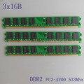3 ГБ 3 X 1 ГБ PC2-4200 DDR2-533 533 мГц 240pin DIMM Dekstop памяти DDR2 CL6.0 низкой плотности 3 г оперативной памяти