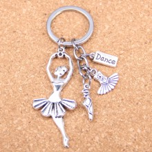20pcs New Fashion DIY Keychain ballet dancer Pendants Men Jewelry Car Key Chain Souvenir For Gift