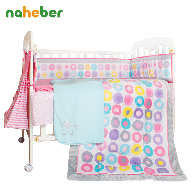 10pcs Cotton Baby Crib Bedding Set Girl Pink Cot Bedding with Window Valance Diaper Bag Bumpers Blanket for Newborn Gift