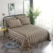 Khaki Gray Blue Purple Luxury European Polyester Cotton Quilted Bedspread Bed Cover Sheet Linen Blanket Pillowcases 3pcs
