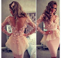 2016 Long Sleeves Sheath Straight  Sexy V Neck Appliques Knee Length Celebrity Dress Party Gowns Sex V Back Cocktail dress