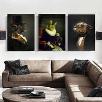 WANGART Wall Art Retro Nostalgia Gentleman oil paintings Animal posters Print Canvas Painting For Living Room Fashion Home Decor