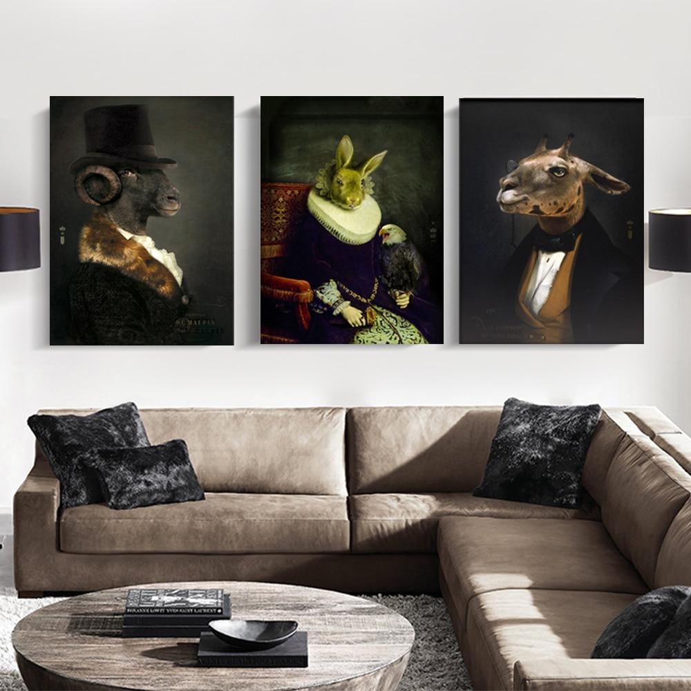 WANGART Wall Art Retro Nostalgia Gentleman Oil Paintings Animal Posters Print Canvas Painting For Living Room Fashion Home Decor