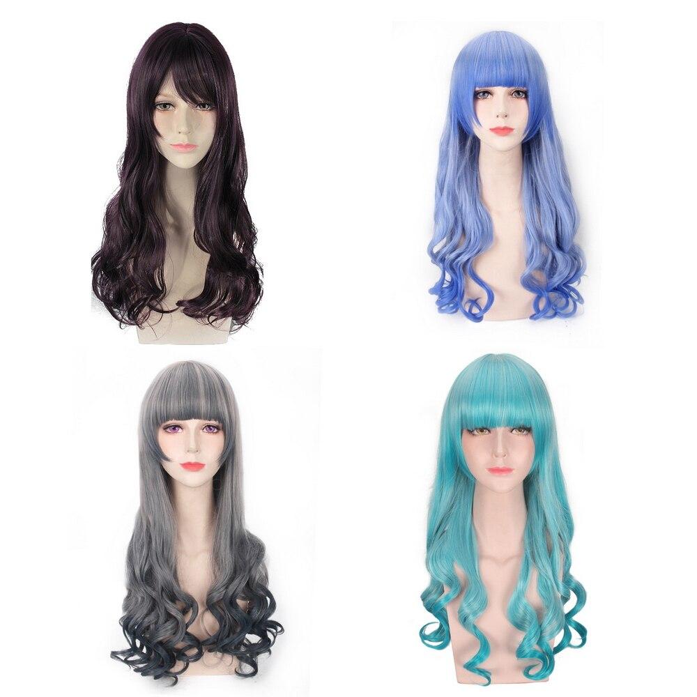 24 дюйма Harajuku Лолита синий серый длинные волнистые женские парики с челкой синтетические волосы Аниме Косплэй парик для вечерние