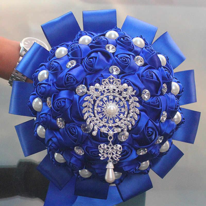 Disesuaikan Gaya Yang Berbeda dari Royal Blue Pernikahan Karangan Bunga Pita Mawar Berlian Imitasi untuk Menghias Pengantin Pernikahan Bouquet