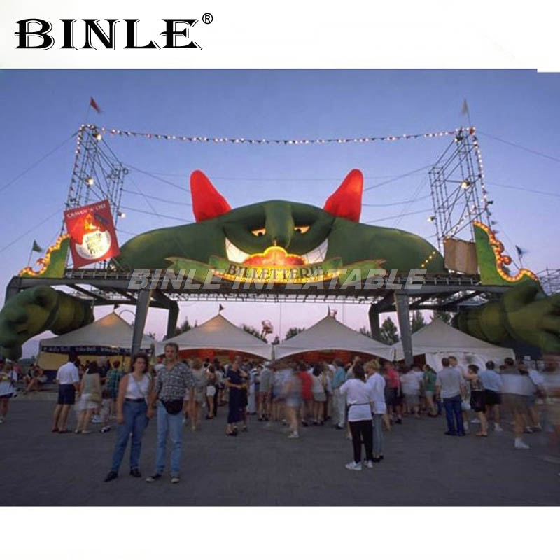 Commercial halloween decoration green inflatable devil arch inflatable monster cartoon entrance archway balloon for rave partyCommercial halloween decoration green inflatable devil arch inflatable monster cartoon entrance archway balloon for rave party
