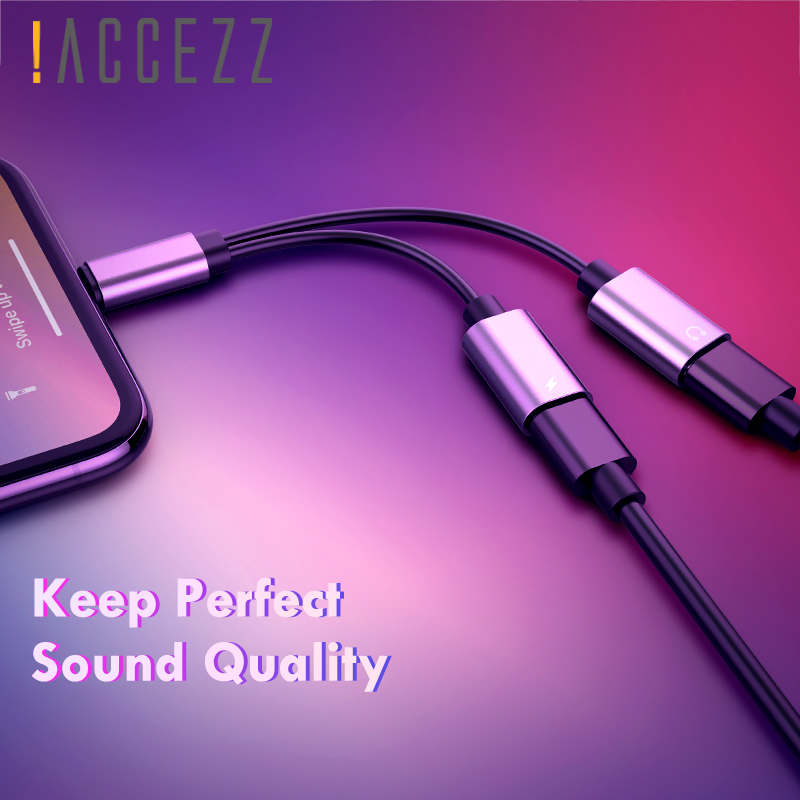 !ACCEZZ Dual Lighting Charging Adapter <font><b>For</b></font> <font><b>Iphone</b></font> <font><b>X</b></font> XR XS Max 7 8 Plus Phone Charger Calling Audio Aux Splitter Cables <font><b>Connector</b></font> image