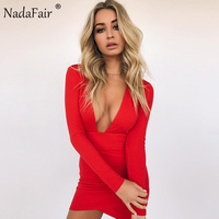 Nadafair Deep V Neck Backless Skinny Full Sleeve Mini Sexy Bodycon Party Club Dresses Red Black