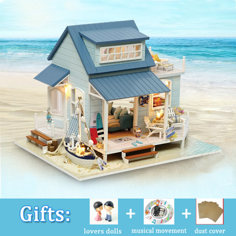 DIY Big Doll House CARIBBEAN SEA Miniature Dollhouse Wooden Cute Room with Dust cover Wood Toy for Girl Birthday Christmas Gift