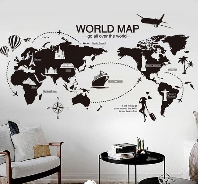 Grote Muurstickers Woonkamer.Us 7 52 Nieuwe Creatieve Wereldkaart Grote Muurstickers Home Decor Woonkamer Diy Muurschildering Decals Verwijderbare Behang In Nieuwe Creatieve