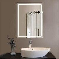 Современный 60*80 см Анти туман яркий светодио дный светодиодный свет зеркало с сенсорным выключателем для ванной комнаты отеля водостойкая