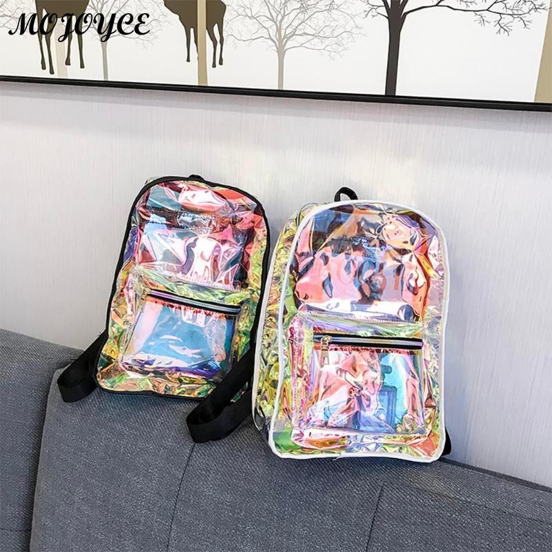 New Transparent Holographic Backpack Korean Style Small Rucksack For Girls Shining Hologram Shoulder Bags Mochilas Feminina #3