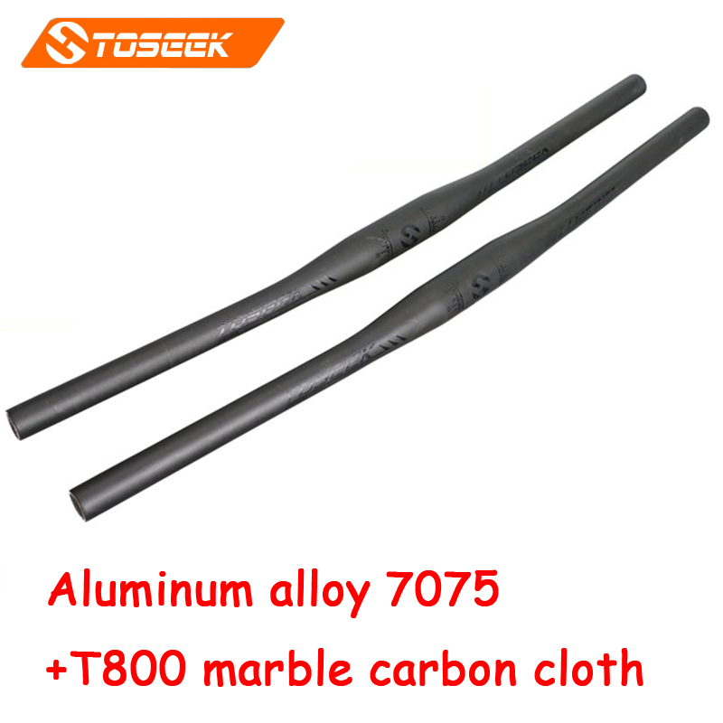 Toseek high quality bicycle handlebar road mountain bike flat handlebar MTB aluminum alloy carbon fiber  31.8*620/660/700mm future brand from taiwan full carbon fiber flat riser handlebar mtb use 3k finish 31 8 600 620 640 660 680 700mm
