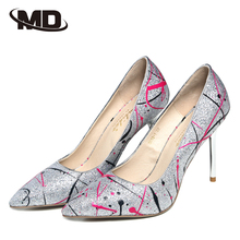 Women Pumps 2016 Pointed Toe Shoes Woman Priting Genuine Leather Shoes Thin Heel High Heels Shoes Ladies Zapatos Mujer Plus Size