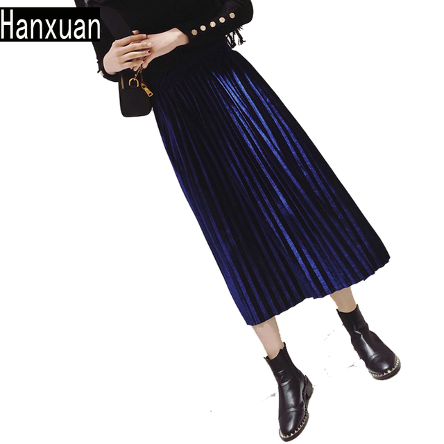 ec0b6c86cf5376 Fashion Girls Pleated Skirt High Waist Pure Color Long Skirts Autumn Winter  Joker Vintage Wome Elastic