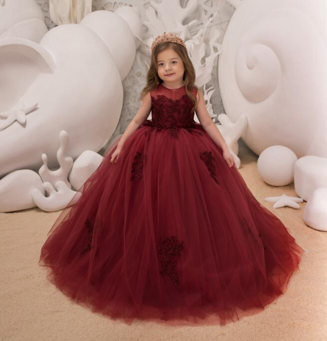 цена на Romantic Red Puffy Lace Flower Girl Dress for Weddings Tulle Ball Gown Girl Party Communion Dress Pageant Gown