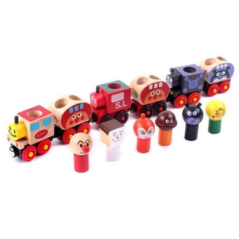 Baby wooden toys  Toy Vehicles 6pcs magic Train Bread Surperman Educational table Games small Train for children gifts