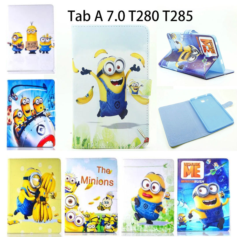 PU Leather Case For Samsung Galaxy Tab A a6 7.0 inch 2016 T280 SM-T285 T285  Cases Cover Tablet Children's cartoon Minions Funda аксессуар чехол samsung galaxy tab a 7 sm t285 sm t280 it baggage мультистенд black itssgta74 1