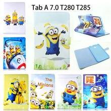 PU Funda de piel Para Samsung Galaxy Tab Un a6 7.0 pulgadas 2016 T280 SM-T285 T285 Casos Cubierta de la Tableta Para Niños de dibujos animados Minions Funda