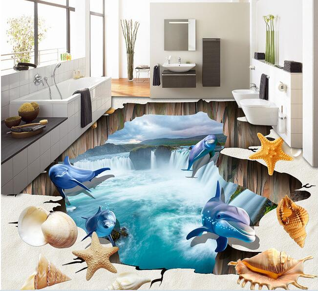 3d pvc flooring custom  wall paper Dolphin beach shells sitting room 3d bathroom flooring mural photo wallpaper for walls 3d 3 d pvc flooring custom wall sticker underwater world coral fishes 3 d bathroom flooring painting photo wallpaper for walls 3d