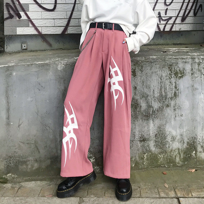 Chain Asymmetry Print Harajuku   Wide     Leg     Pants   Women Autumn Casual Loose Pocket High Waist Trousers Female Bottom