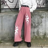 Summer Wide Leg Pants Women Fashion Printed Harajuku Trousers Female Causal High Waist Pockets Streetwear Loose Pants 2019