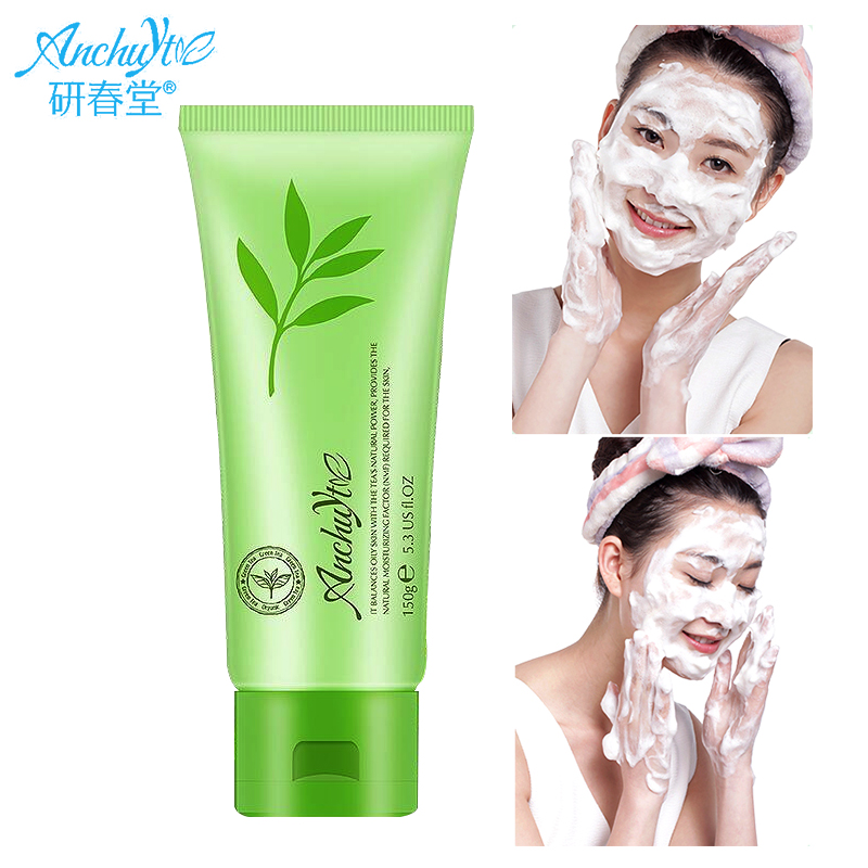 ANCHUYT Plant Pure Green tea Cleansing wash Foam Facial Cleanser Shrink Pores Control Oil Whitening Moisturizing Aloe Vera Gel