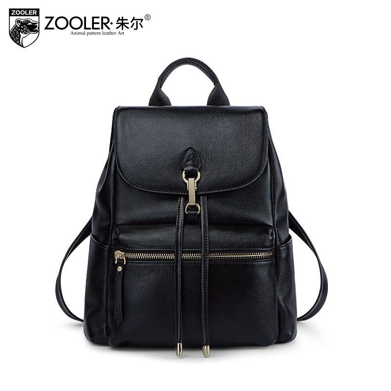 ZOOLER Brand Women's Fashion Genuine Leather Black Backpack School Bags Women Back Pack Bag Lady Sac A Dos Femme Luxury Mochilas genuine leather backpack women designer bags high quality new rivet casual black school bags for teenagers grils sac a dos