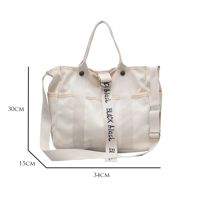 Letter Black & White Canvas Wristlets Unisex Casual Tote Japanese Style  Large-capacity Student Book Bag Eco Handbags