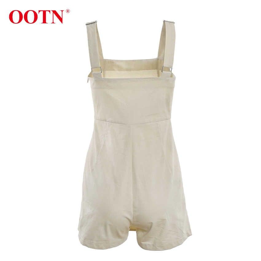 OOTN z lnu i bawełny w stylu casual kobiety kombinezony regulowany pasek kombinezony podwójne piersi lato Khaki panie krótkie kombinezony Romper