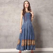 Женское джинсовое платье без рукавов винтажное многослойное