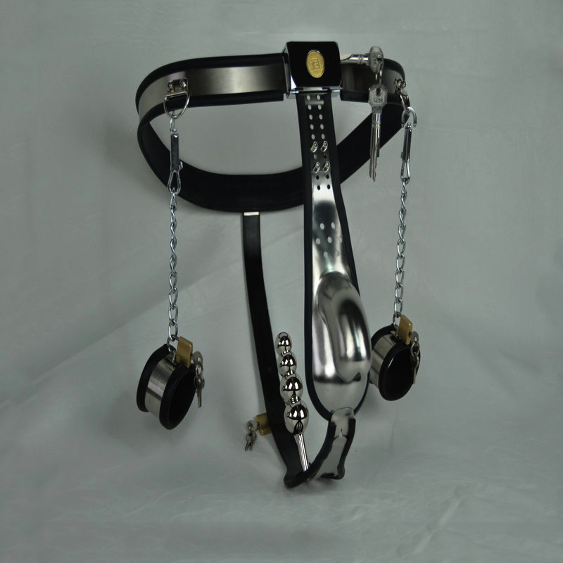 arc-waist belts stainless steel male chastity belt pants with anal plug handcuffs men strapon bondage hand cuffs chastity device