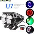 Motocicletas carro LEVOU Luz de Nevoeiro Com Interruptor LED Cree Chips U7 125 W 3000LM LED DRL Luzes De Condução de Motocicleta Faróis holofotes