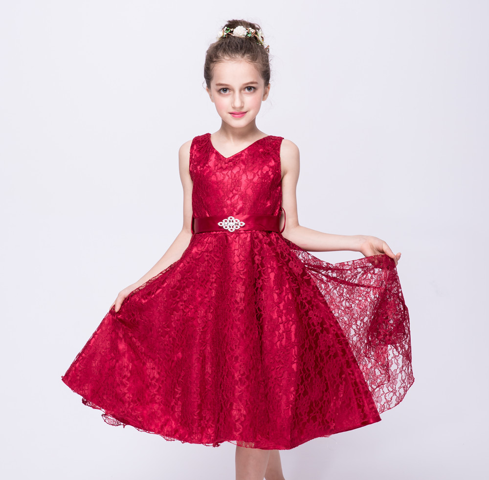 Lace Kids Clothes Girls Dresses for Party and Wedding Princess Dress Children Flower Girl Dresses Burgundy Gown 2 To 12 Years lace flower girl dress europe and the united states style silk belt princess kids dresses girls party dress for 2 8t