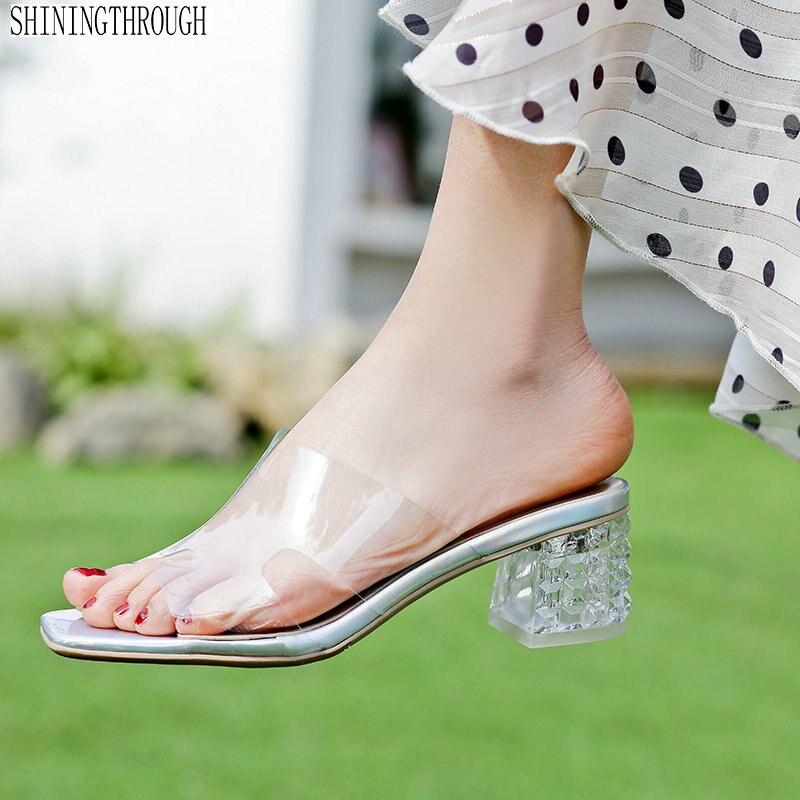 c07c6c1b1ff53d Mariage 41 Taille Hauts D'été Style Transparent En Partie Pantoufles Cuir De  Talons Colors Véritable blanc Chaussures Sandales Femme 42 43 noir z5w66q4xZ