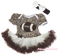 Rugby Ball Sports Leopard Bodysuit Girl Beige Brown Baby Dress Outfit Set NB 18M