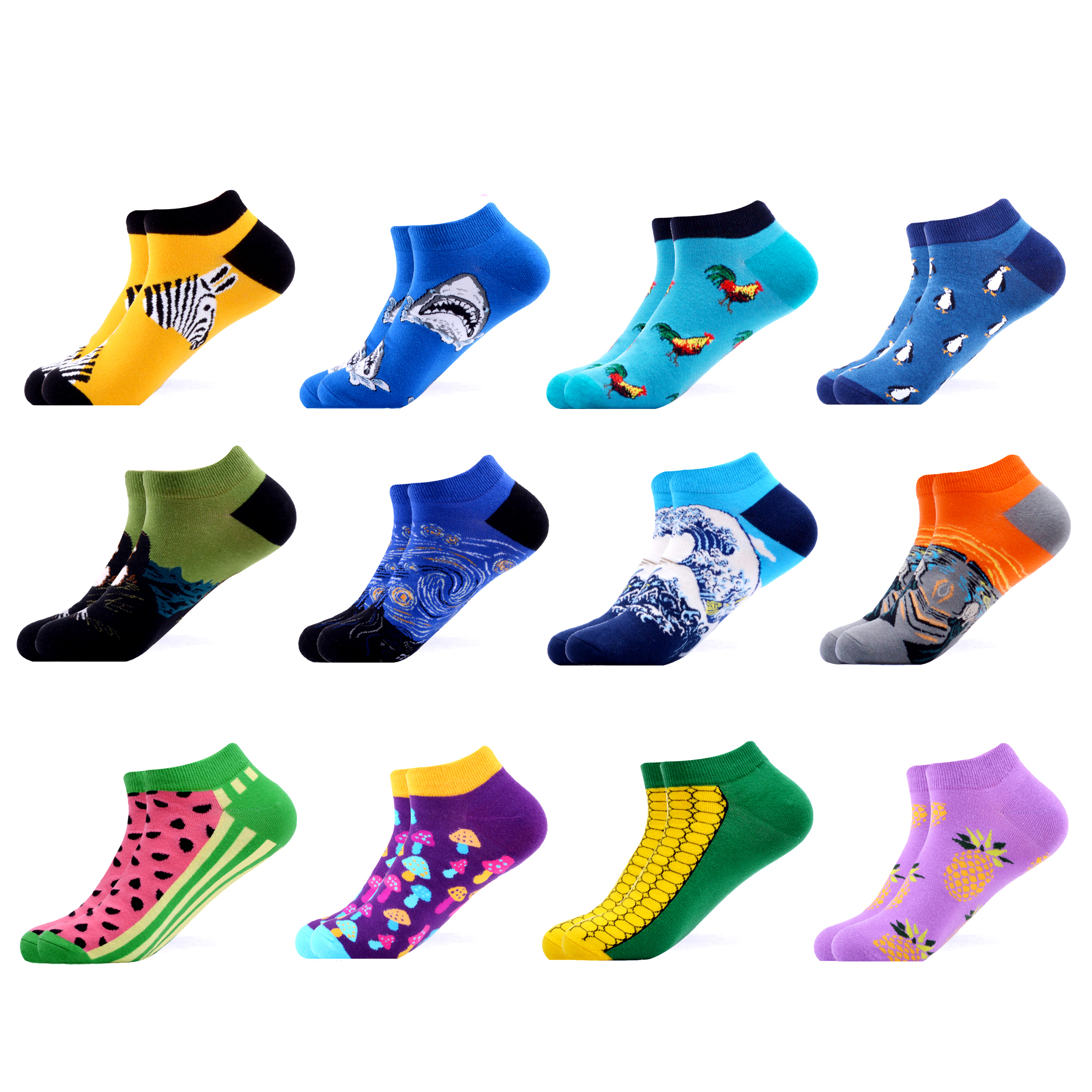 SANZETTI 12 Pairs/Lot Men's Casual Summer Colorful Ankle Socks Happy Combed Cotton Short Socks Novelty Harajuku Dress Boat Socks