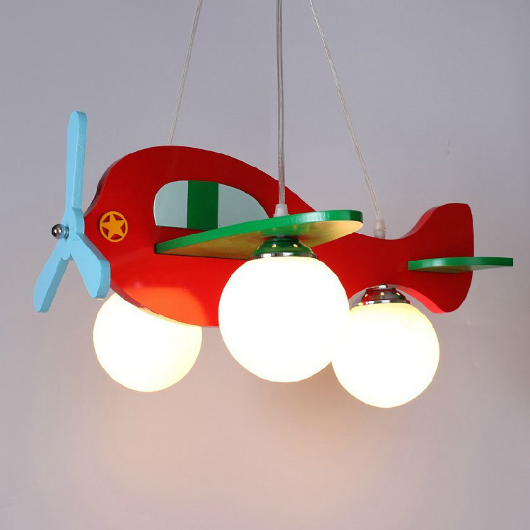 Kids Lighting Fixtures: Children Model Plane Bedroom Pendant Lamps Glass Lampshade