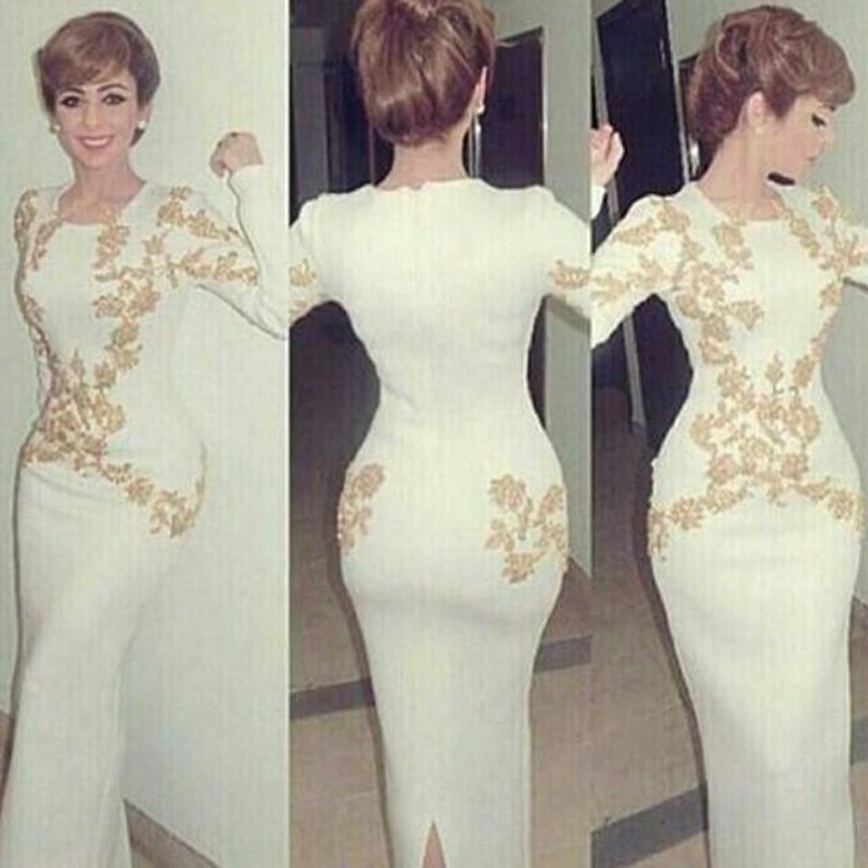 Aliexpress.com : Buy White Long Sleeves Prom Dress with Gold ...
