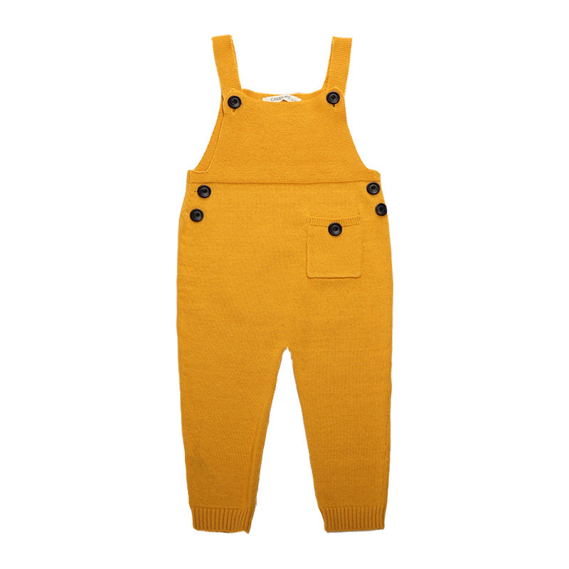 Autumn Baby Boys Girls Pocket Knitted Baby Rompers Overalls Jumpsuits Boys Girls Candy Color Bib Harem Pants Kids Clothes  new 2016 autumn winter rompers newborn baby clothes girls boys overalls kids knitted cotton christmas jumpsuits hats sets