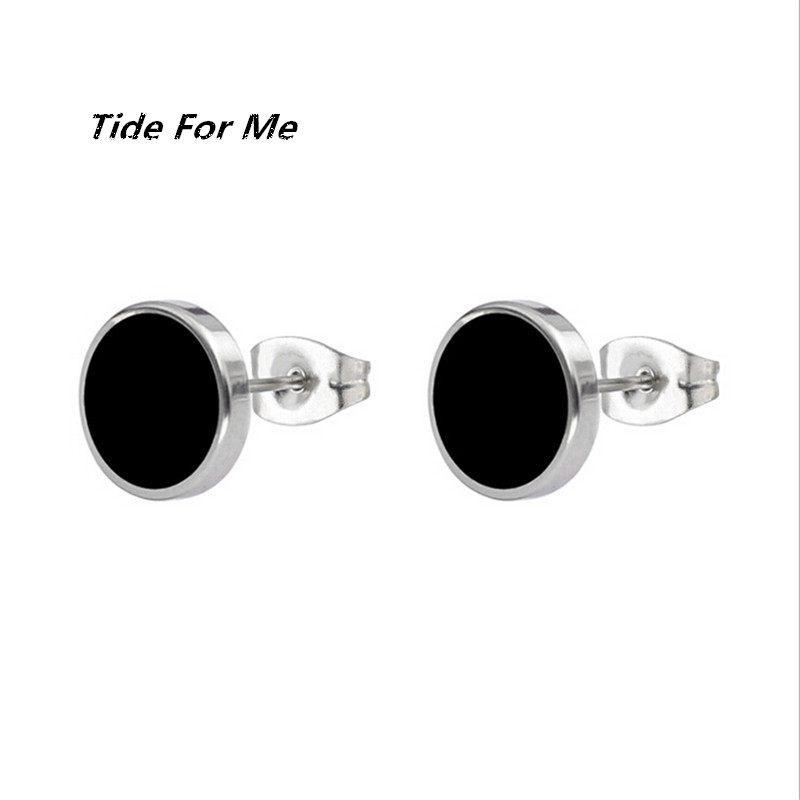 New Simple Punk Black Silver Gold Color Round Stainless Steel Stud Earring for Women & Men Helix Ear Piercings Fashion Jewelry