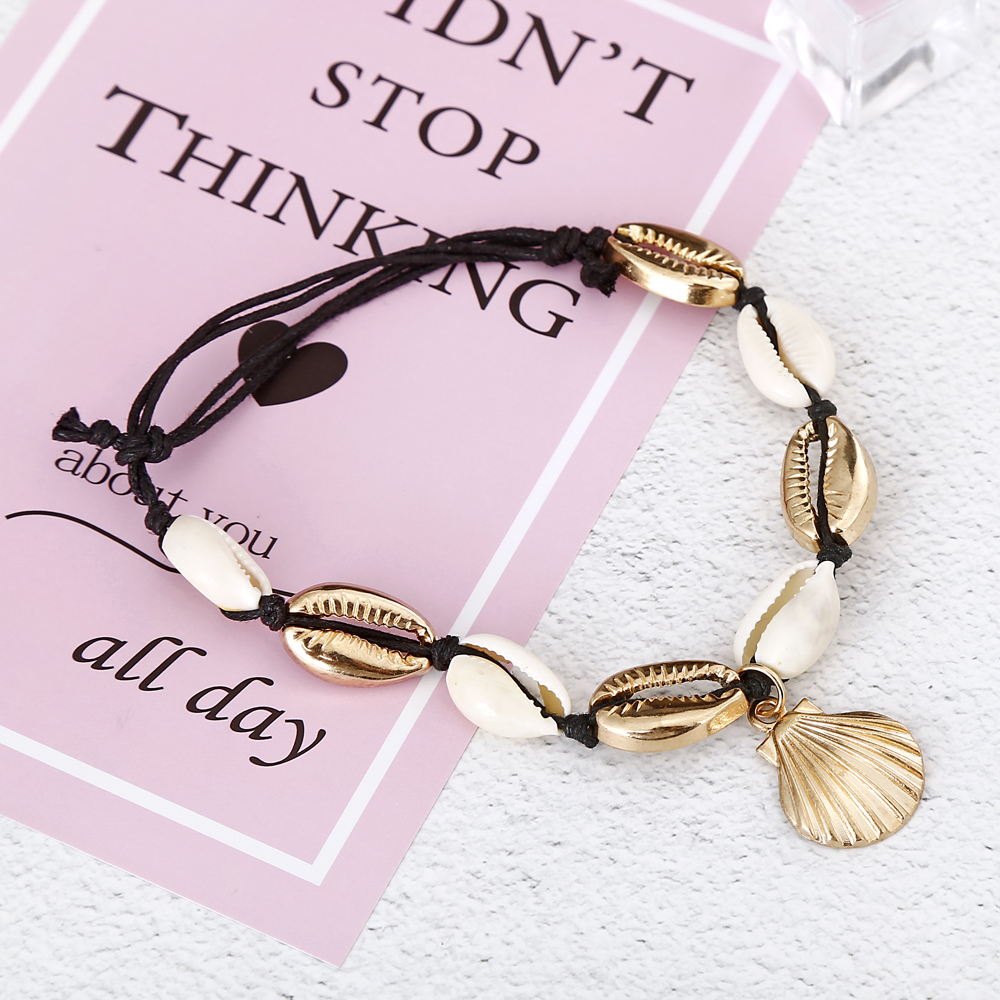 XIYANIKE New Natural Shell Conch Rope Anklets For Women Foot Jewelry Summer Beach Barefoot Bracelet Ankle on Leg For Women 2019 in Anklets from Jewelry Accessories