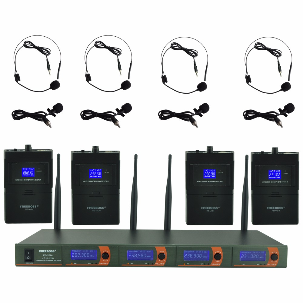 FB-V04H4 Professional Wireless Microphones VHF KTV Party Mic System 4 Headset Wireless Karaoke Microphone freeboss m 2280 50m distance 2 channel headset mic system karaoke party church uhf wireless microphones