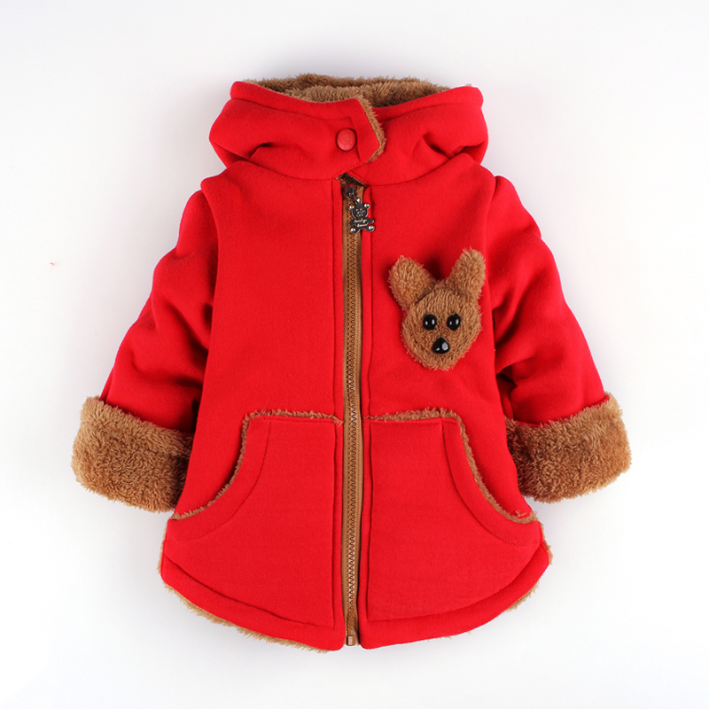 ФОТО Children's wear hat add wool jacket stereo bear thickening  clothes boy girl cotton-padded jacket coat