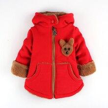 Детская одежда шляпа добавить шерстяной жакет стерео медведь загущающие одежда мальчик девочка хлопка-ватник пальто