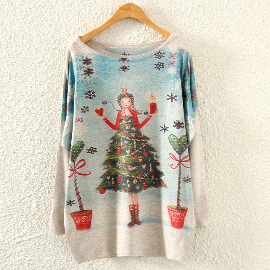 Long Sleeve Knit Sweater 2018 Winter Women O Neck Merry Christmas Tree Print Casual Pullovers Clothes Women Loose Thin Sweaters