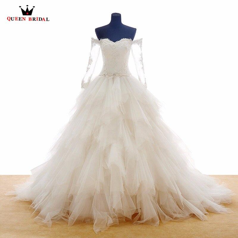 Ball Gown Long Sleeve Sweetheart Ruffle Lace Elegant Bridal Formal Wedding Dress Robe De Mariee Vestidos De Noiva 2018 New WD12